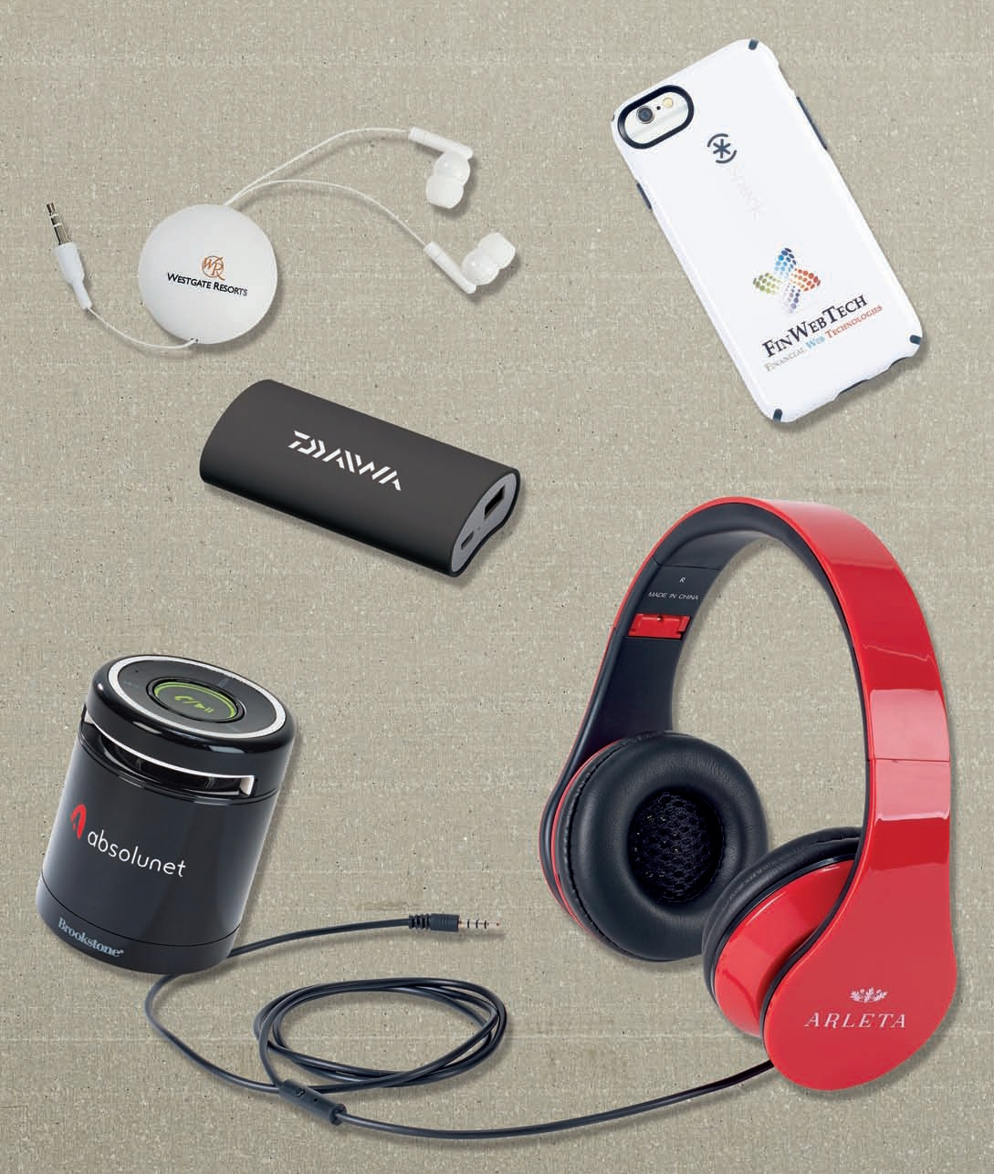 Custom printed logo bluetooth speakers and headphones for events and promotions
